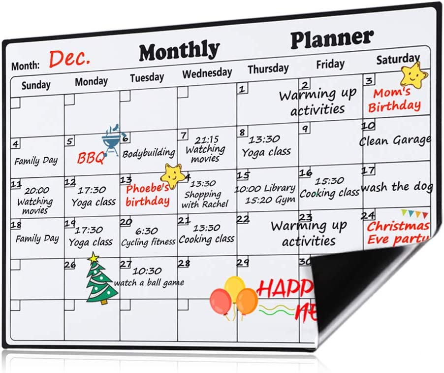 "Haton Magnetic Calendar for Fridge, 16.9"" x 11.8"" 2020 Monthly Planner Kitchen Magnetic White Board Dry Erase Calendar for Refrigerator with Upgraded Stain-Resistant Technology"