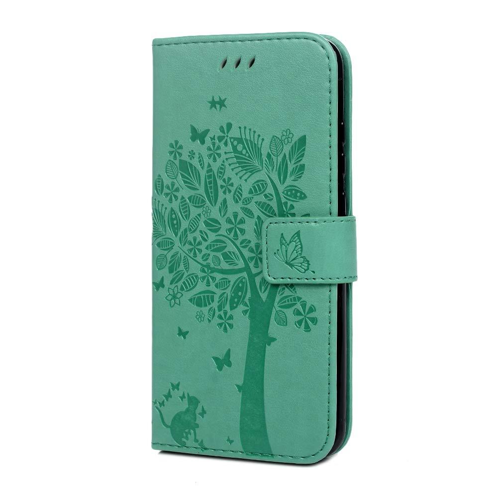 Violet Clair Coque pour Huawei Honor 10 Lite//P Smart 2019 Etui PU+TPU Arbre Imprimant Cuir Silicone Carte Support Portefeuille R/étro Magn/étique Housse