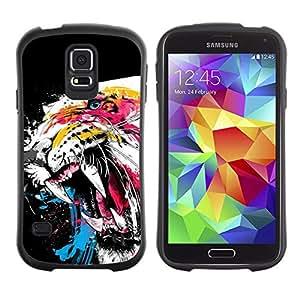 LASTONE PHONE CASE / Suave Silicona Caso Carcasa de Caucho Funda para Samsung Galaxy S5 SM-G900 / Tiger Roar Teeth Art Watercolor Painting Neon