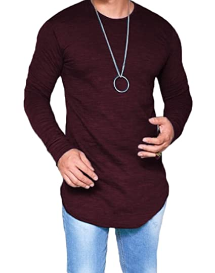 5763345a35a Men s Long Sleeve Slim Fit Thin T-shirt Round Neck Breathable Summer Blouse  (US