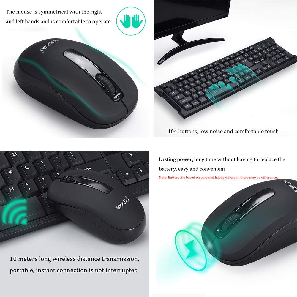 Waterproof Multimedia USB Wireless Keyboard and Mouse electronic product Wireless Mouse and Keyboard Set Lasting Battery Life Office Game Home Keyboard and Mouse Set