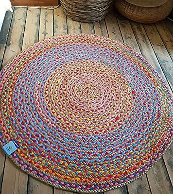 Rugsite Alfombra Redonda de Yute Circular de 100 cm x 100 cm con ...