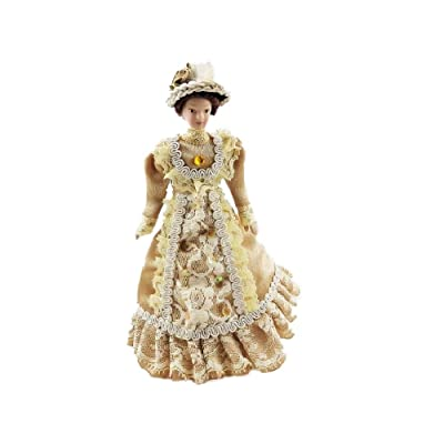 Melody Jane Dollhouse Victorian Lady in Coffee Outfit Porcelain 1:12 People: Toys & Games
