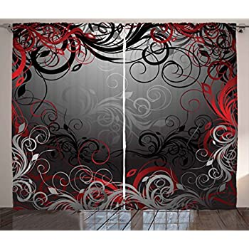 Ambesonne Red And Black Curtains Mystic Magical Forest Inspired Floral Swirls Leaves Nature Artwork Living Room Bedroom Window Drapes 2 Panel Set