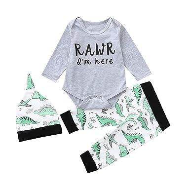ed10c2c62b18 Amazon.com  3PCs Baby Clothes Set Girls Boys Dinosaur Romper ...