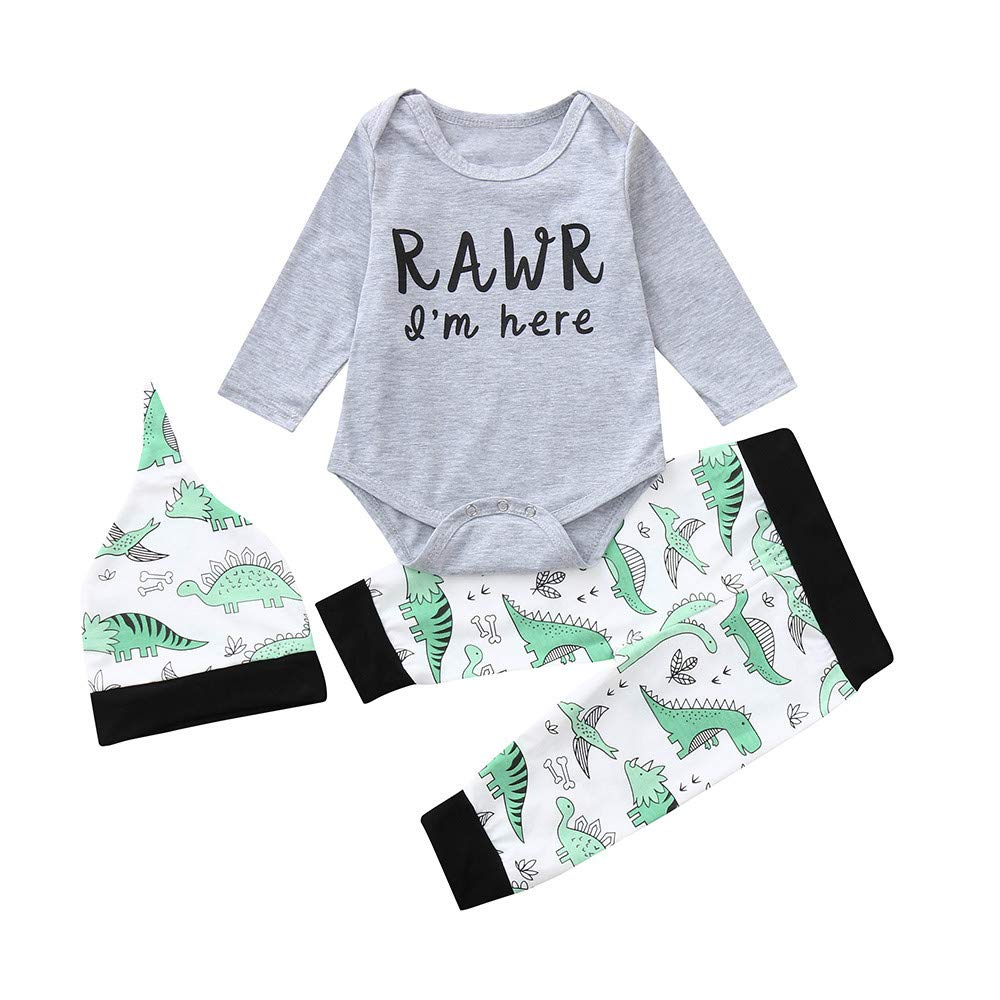 2018 Toddler Newborn Baby Boys Girl Letter Romper Bodysuit+Cartoon Dinosaur Pants Headband Outfit SUNBIBE/_boys clothes