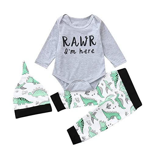 396273bf4 Amazon.com: kaiCran 3Pcs/Set Toddler Baby Girl Boys Dinosaur Bodysuit  Outfits Rawr I'm Here Rompers: Clothing