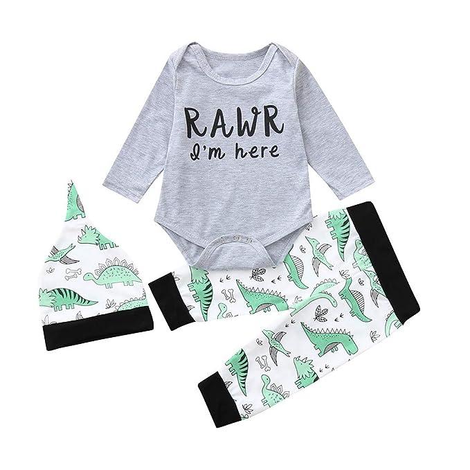 9767f023a 3Pcs Baby Clothes Set Girls Boys Dinosaur Romper Jumpsuit Pants ...