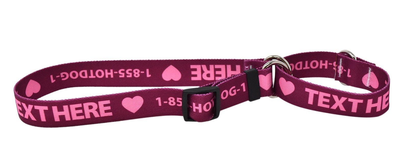 Custom Personalized Martingale Dog Collar, Plum, Medium