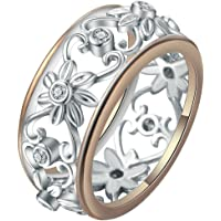 Rings for Women 925 Sterling Silver Ring and Goldplated Sexy Flower Floral Ring with Gift Box