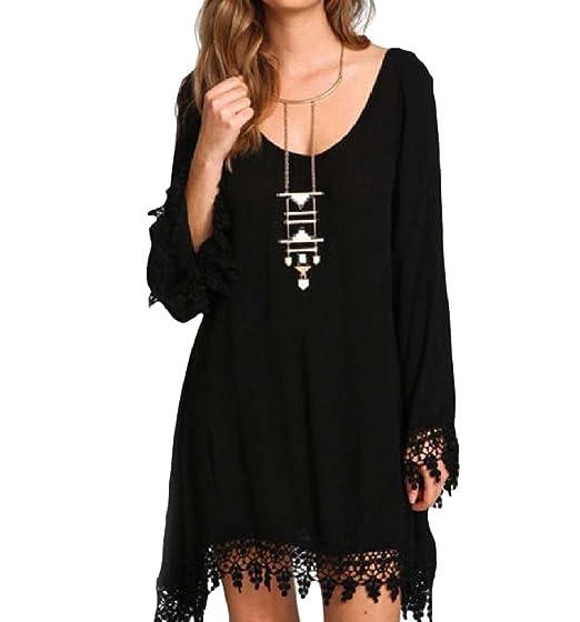 72a29bfd1fb Winwinus Women Tassel Edge Lace Trim Plus Size Long Sleeve Chiffon Mini  Dress Black 2XL
