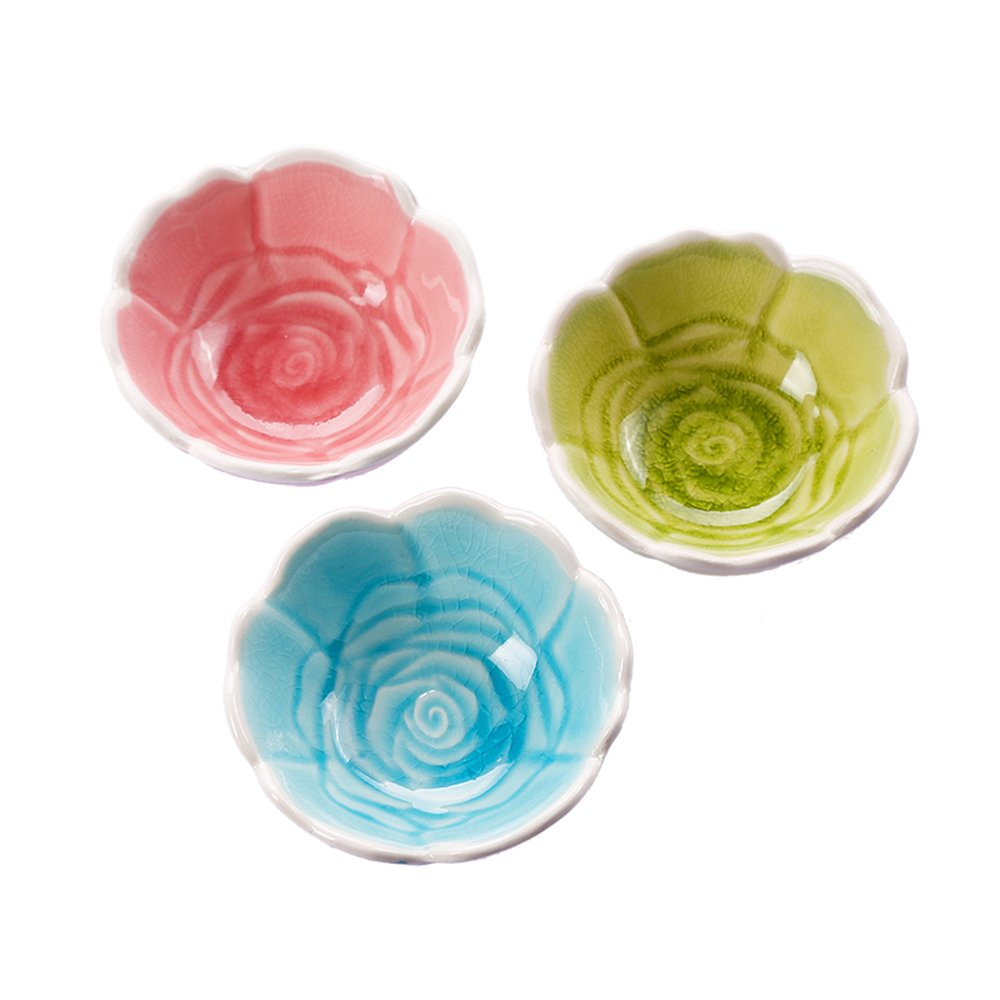 Set of 3 WAIT FLY Beautiful Rose Flower Shaped Ceramics Seasoning Dishes// Tea Bag Holders// Ketchup Saucer// Appetizer Plates// Vinegar Spice Salad Soy Sushi Wasabi Seasoning Dipping Bowls