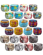 Candle Tins Containers with Lids 4 oz 24 Piece Empty Candle Jars for Making Candles Decorative Tin Candle Making DIY