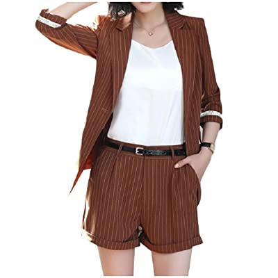Abetteric Women Trim-Fit Pinstripe Notch Lapel Blazer Jacket Shorts Pants