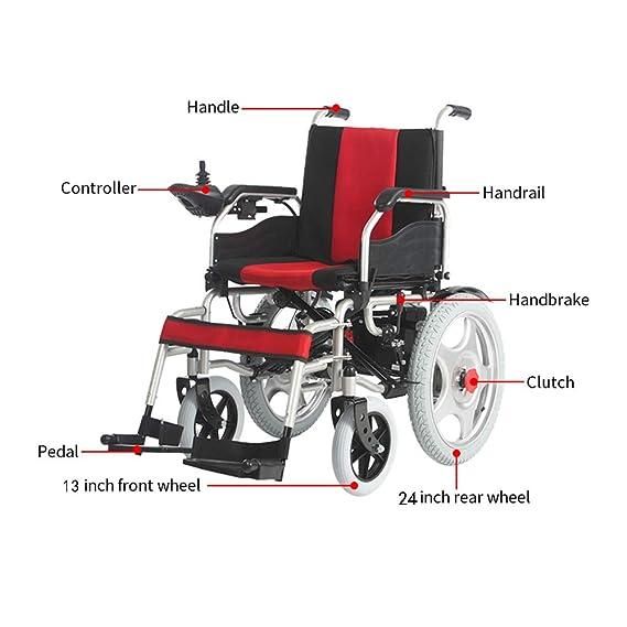 Sillas De Ruedas Eléctricas Con Joystick Inteligente De 360 °, Indicación De Velocidad, Rueda De 24 Pulgadas, Asiento Extraíble Potentes Motores: Amazon.es: ...