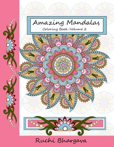 Download Amazing Mandalas Coloring Book-Volume 2: 55 Mandala Designs with 50 Original Designs and 5 Repeated Designs in BLACK background pdf epub