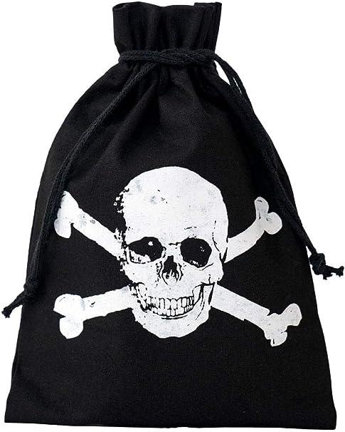 10 bolsitas negras de algodón con impreso blanco de calavera, bolsa de regalo, bolsa de Halloween, pirata, fiesta de cumpleaños, fiesta (15x10cm): Amazon.es: Hogar