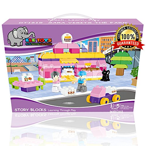 Ele Toys Interlocking Building Block Sets Fun & Educational - Compatible with Other Large Building Bricks - Each Set Includes a Unique Story - Sara Visits The Farm
