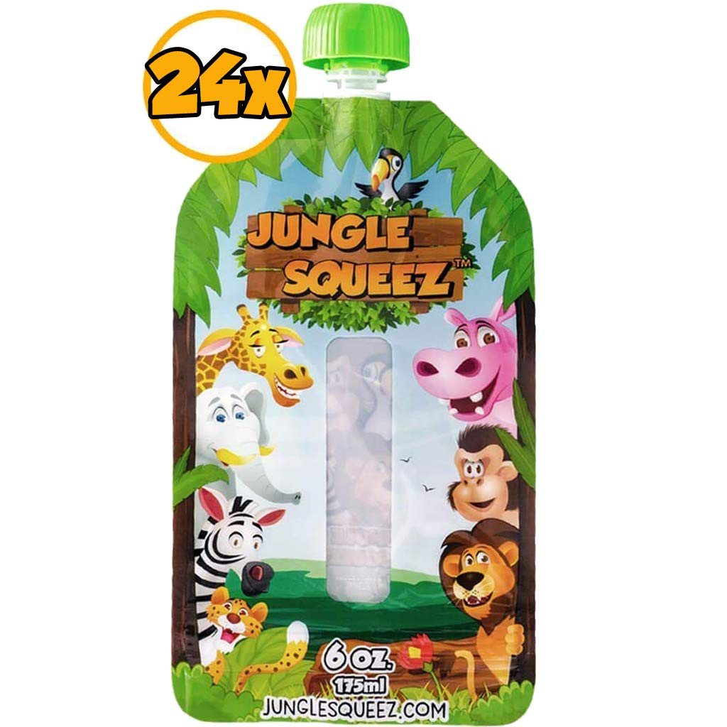 Refillable Squeeze Pouches (6oz) for Infantino Squeeze Station - (Large 24 Pack) - 1 Year Warranty, BPA Free and 6 Extra Caps | Reusable Baby Food Pouches for Food Pouch Maker