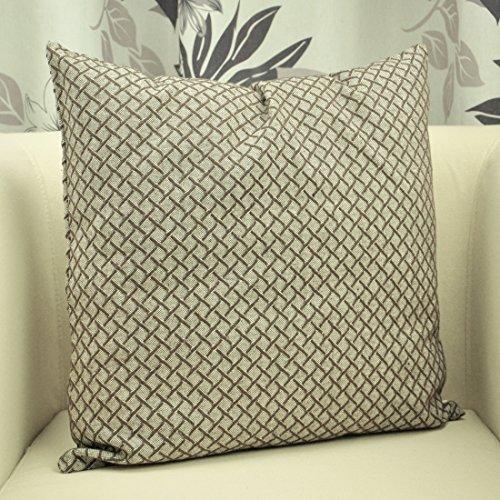 BENFAN Cotton Canvas Grids Pattern Accent Throw Pillow Cover
