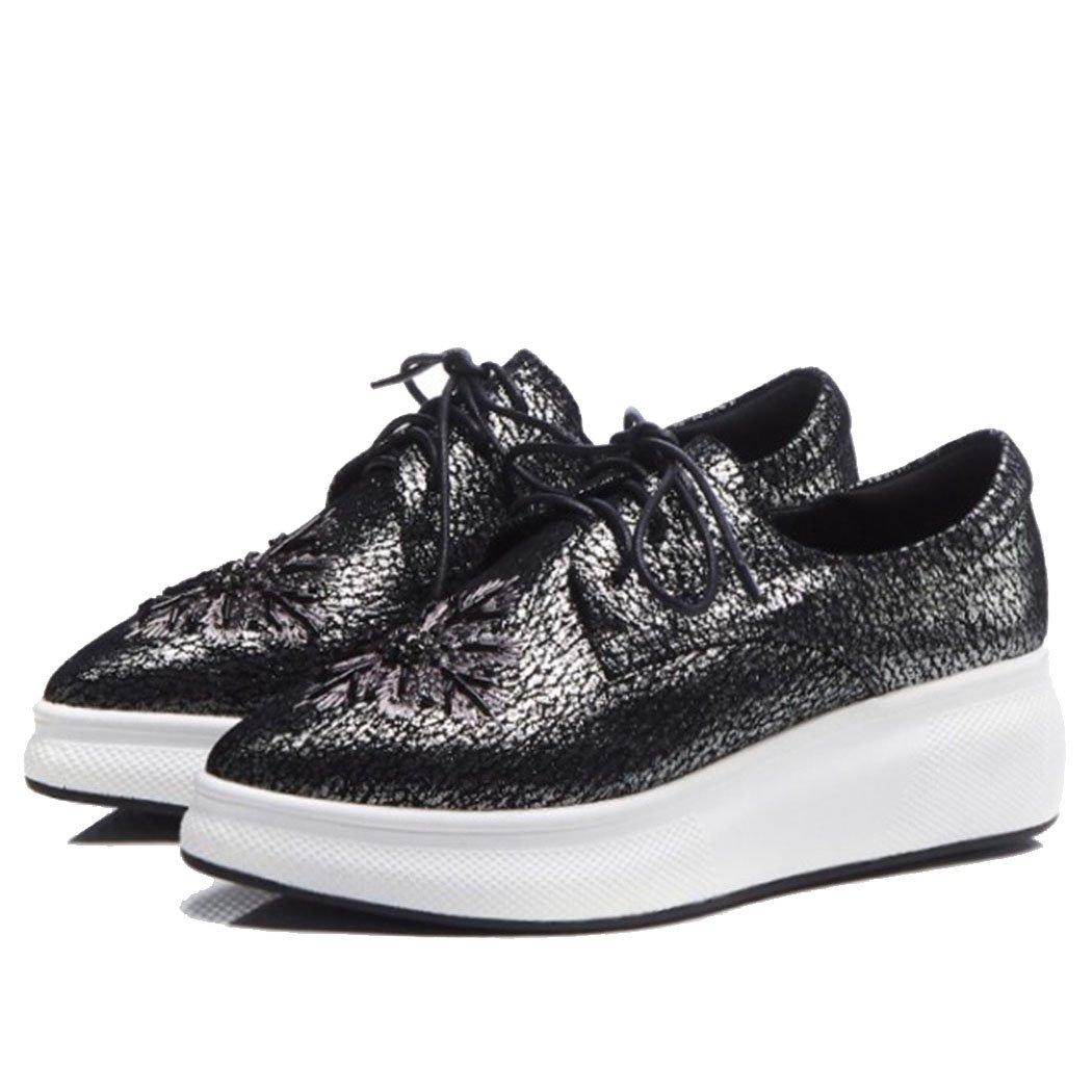 GAOLIXIA Mocasines Acentuados de Las Mujeres del Otoño nuevos Atan para Arriba los Zapatos Ocasionales Británicos Zapatos Planos de la Moda de la Moda 36 EU|Color de La Pistola