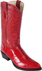 Genuine EEL Skin RED J-Toe Los Altos Mens Western Cowboy Boot 990812