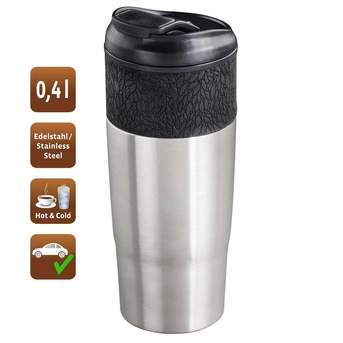 BPA-Free ThermoCaf/é by THERMOS 4056.205.040 Coffee To Go Thermobecher ThermoPro Edelstahl mattiert 0,4 l