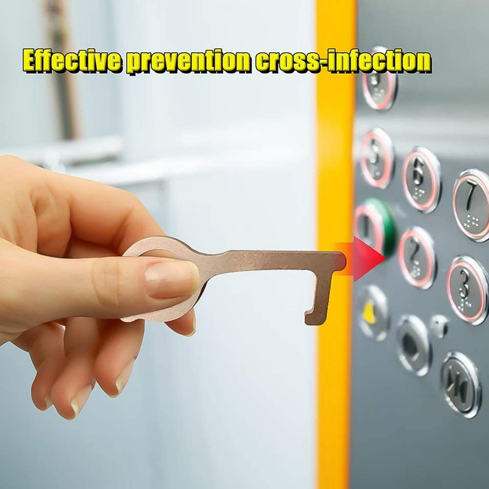 Chutoral No-Touch Ouvre-porte hygi/énique main EDC Antimicrobienne Portable Alloy EDC Door Opener Press Elevator Handle Key