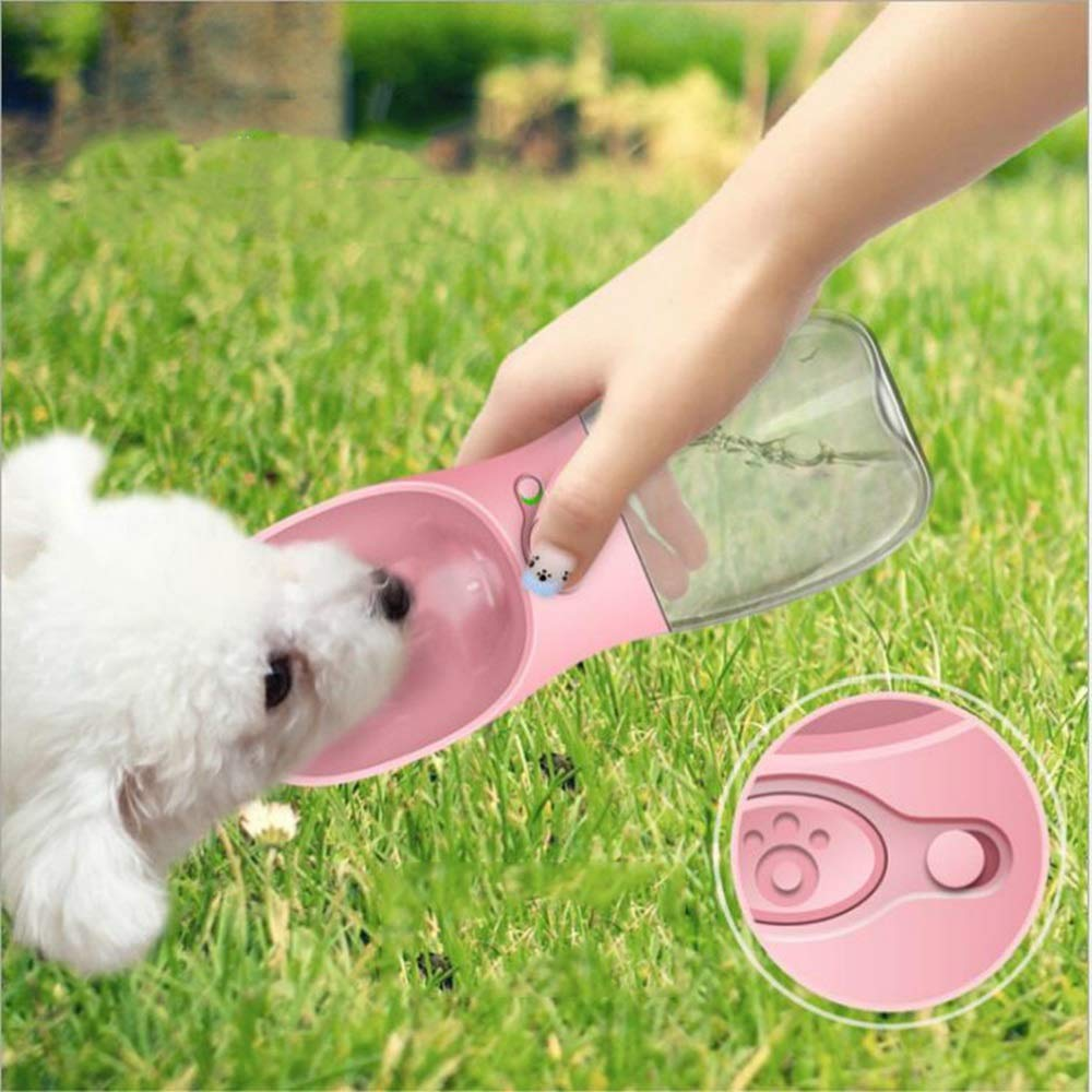 GAL Pink pet cat and Dog 350ml accompanying Cups Out of The Water Cup Outdoor Portable Travel Bottle Water Bowl Drinking Fountain
