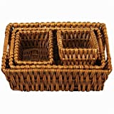 Household Essentials ML-9195 Rectangular-Shaped Woven-Willow Basket, Set of 4