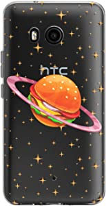 Toik Slim TPU Phone Case for HTC U19e U11 Life Desire 12 Plus Ultra One X10 Junk Food Burger Kawaii Cute Lightweight Flexible Protective Clear Silicone Print Design Planet Gift Women Funny Girls Cover