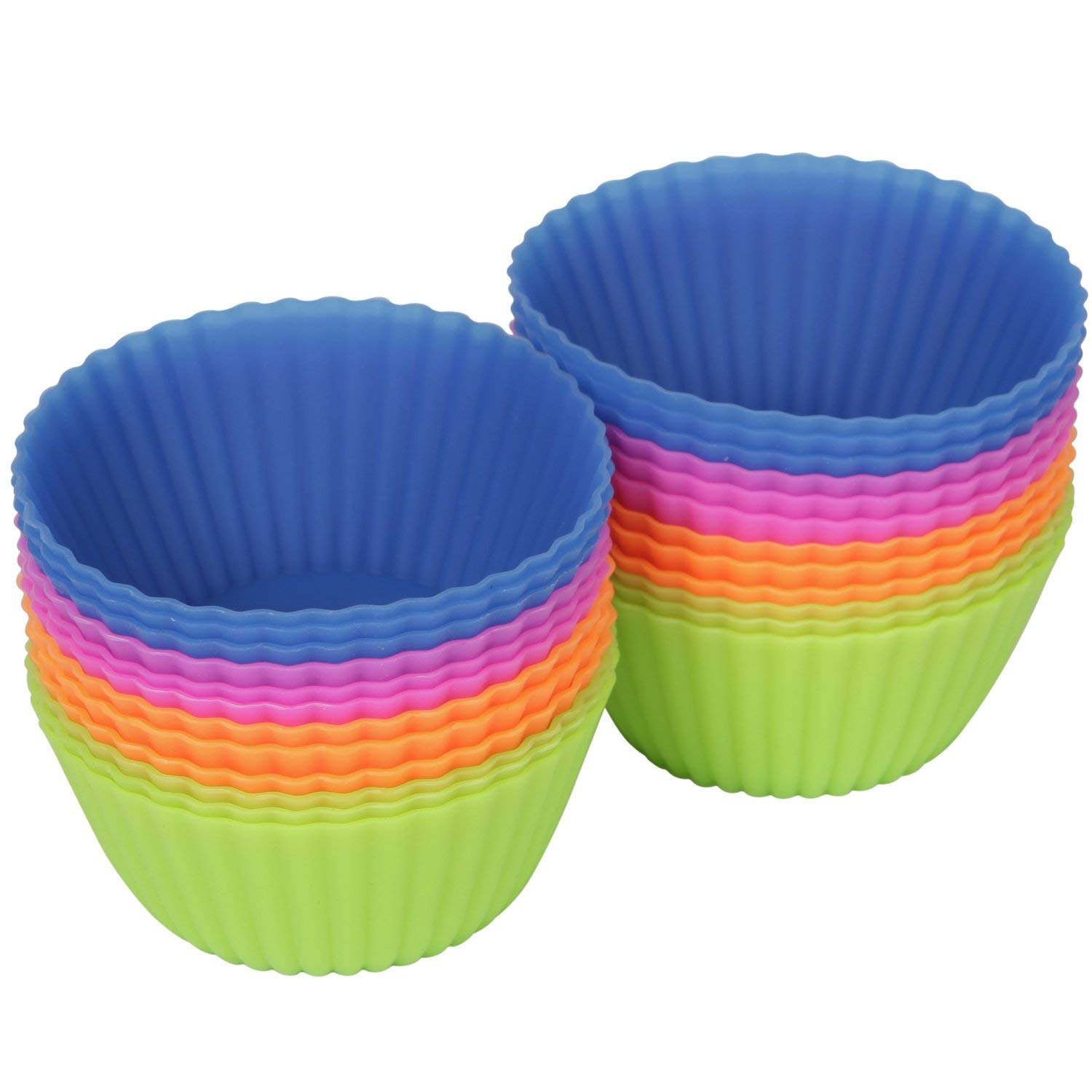 GT Market plus Reusable Silicone Baking Cups, Pack of 12. Cupcake, Silicone Cupcake Baking Muffin Cups