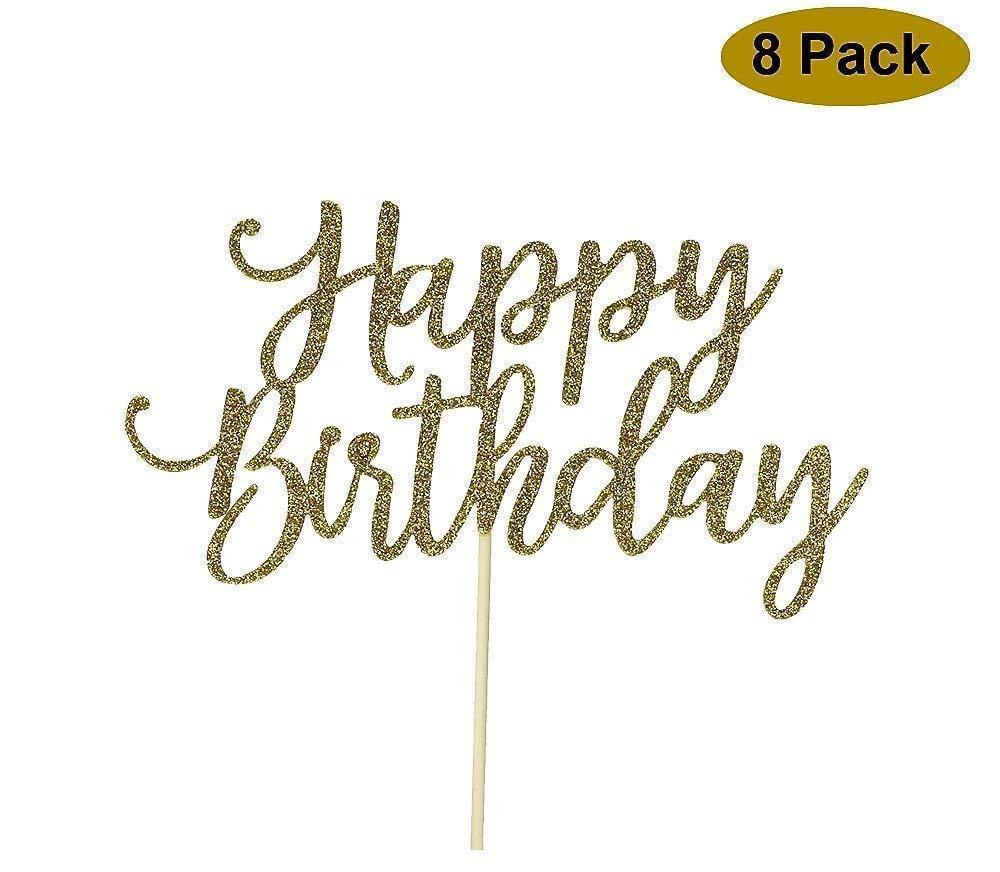 8 Pack Happy Birthday Cake Topper, 1st First Happy Birthday Cupcake Topper, Glitter Gold Decoration by YOFEY