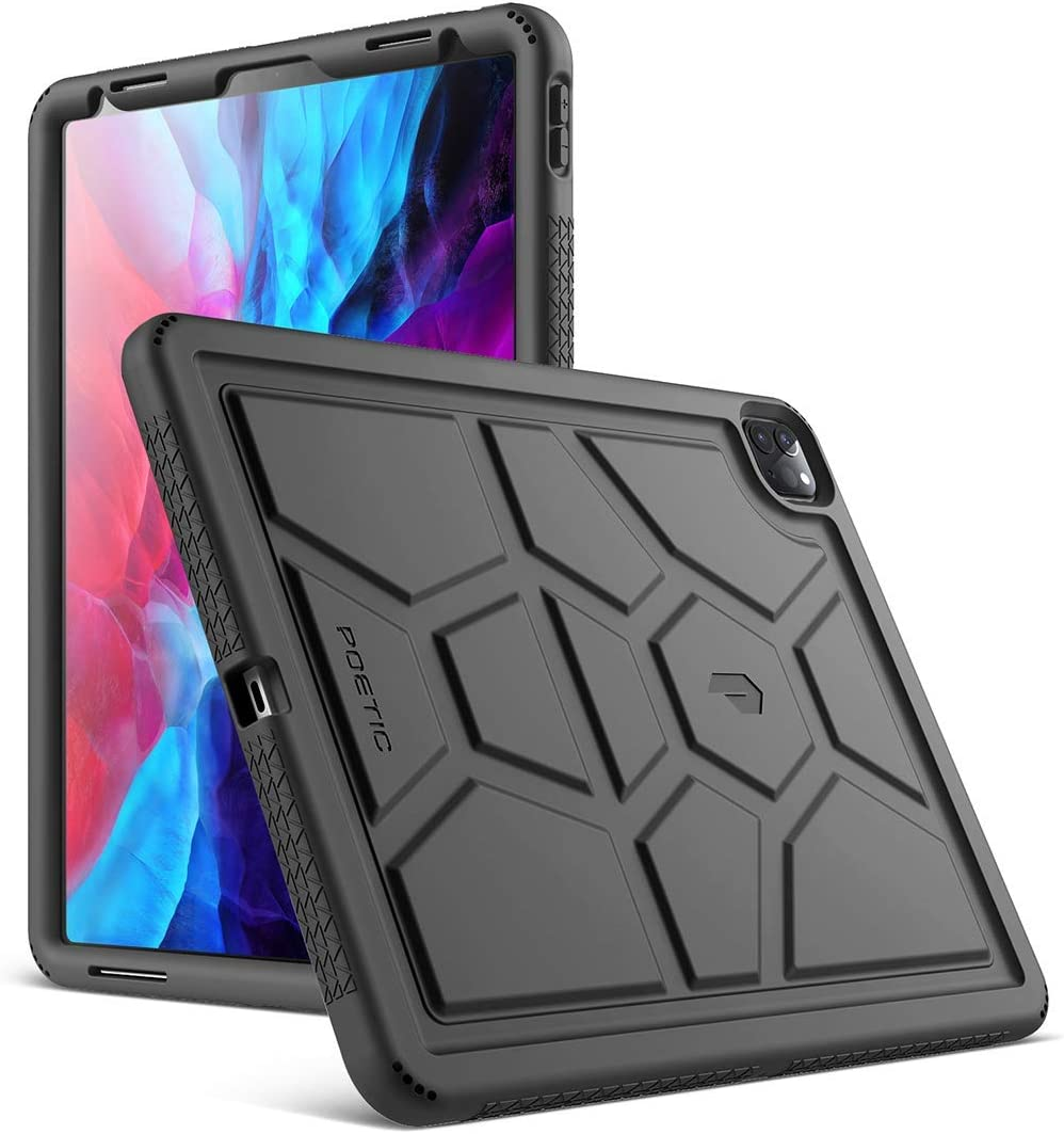 Poetic TurtleSkin Series Designed for Apple iPad Pro 12.9 2020 & 2018 Case, Heavy Duty Shockproof Kids Friendly Silicone Bumper Protective Case Cover, Black