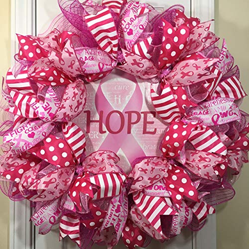 Breast Cancer Awareness Wreath for front door with deco mesh & ribbon, 26