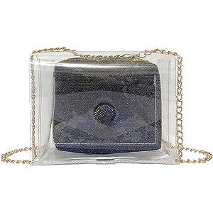 028120a318 Borsa Trasparente Donna Piccola Set Borse Ragazza 2 Pezzi Mambain Moda  Eleganti Casual 1 Pc Borse