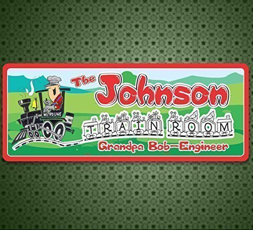(Personalized Train Room Custom Sign with Cartoon Conductor and Metro Line Engine, Train)