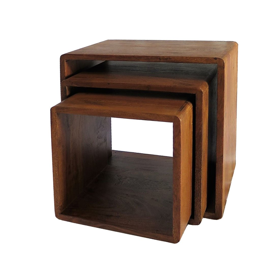 DANAUS Retro Style Nest of Three Cube Tables Solid Acacia Wood ASPECT