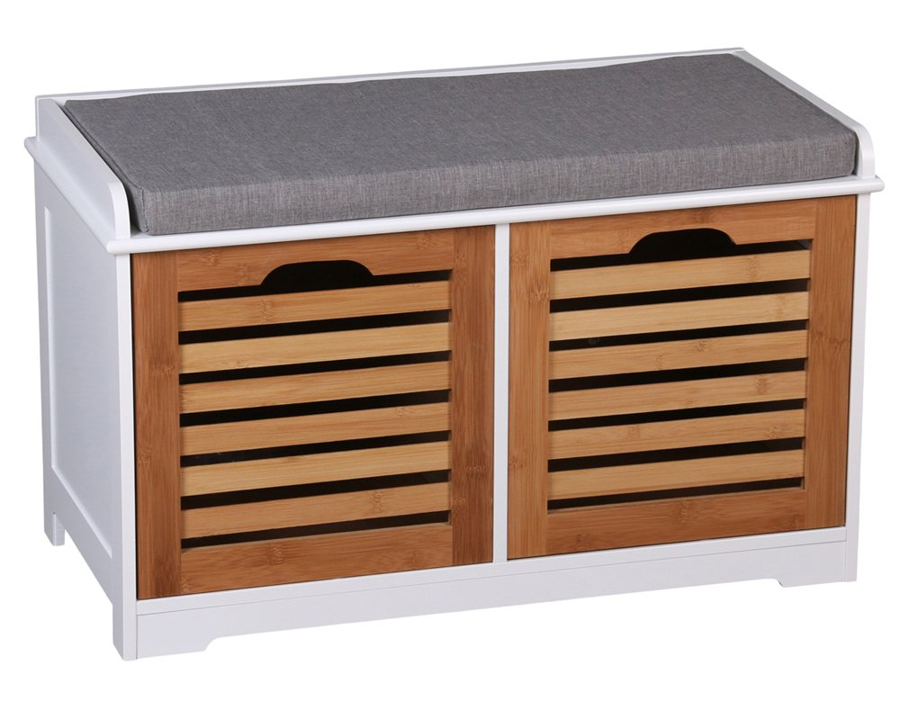 ASPECT Kendal 2 Seater Wooden Storage Bench With Seat Cushion, White Frame/Bamboo Drawers/Grey Cushion OT53