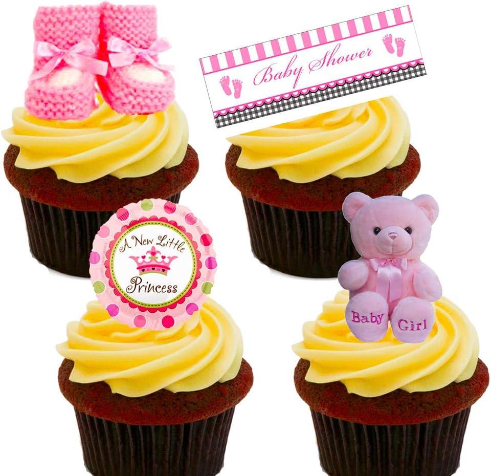 Obleas decorativas para colocar de pie en tartas y magdalenas, con diseño alusivo a la celebración del nacimiento de una niña, comestibles, Pack de 24