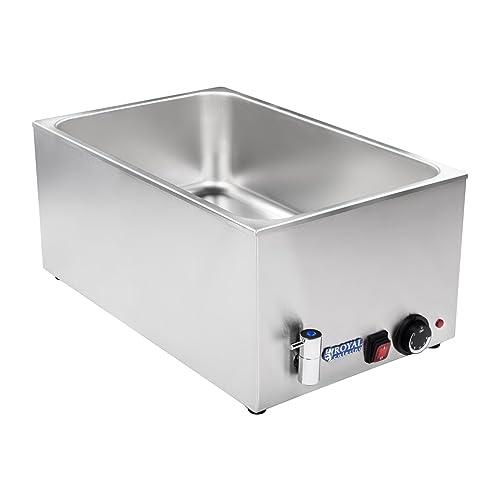 Royal Catering - RCBM-1/1-150A - Bain Marie 1/1 -max 95°C - 230 Volt - 1200 Watt - Profondeur 150mm - Robinet de vidange - Frais d'envoi inclus