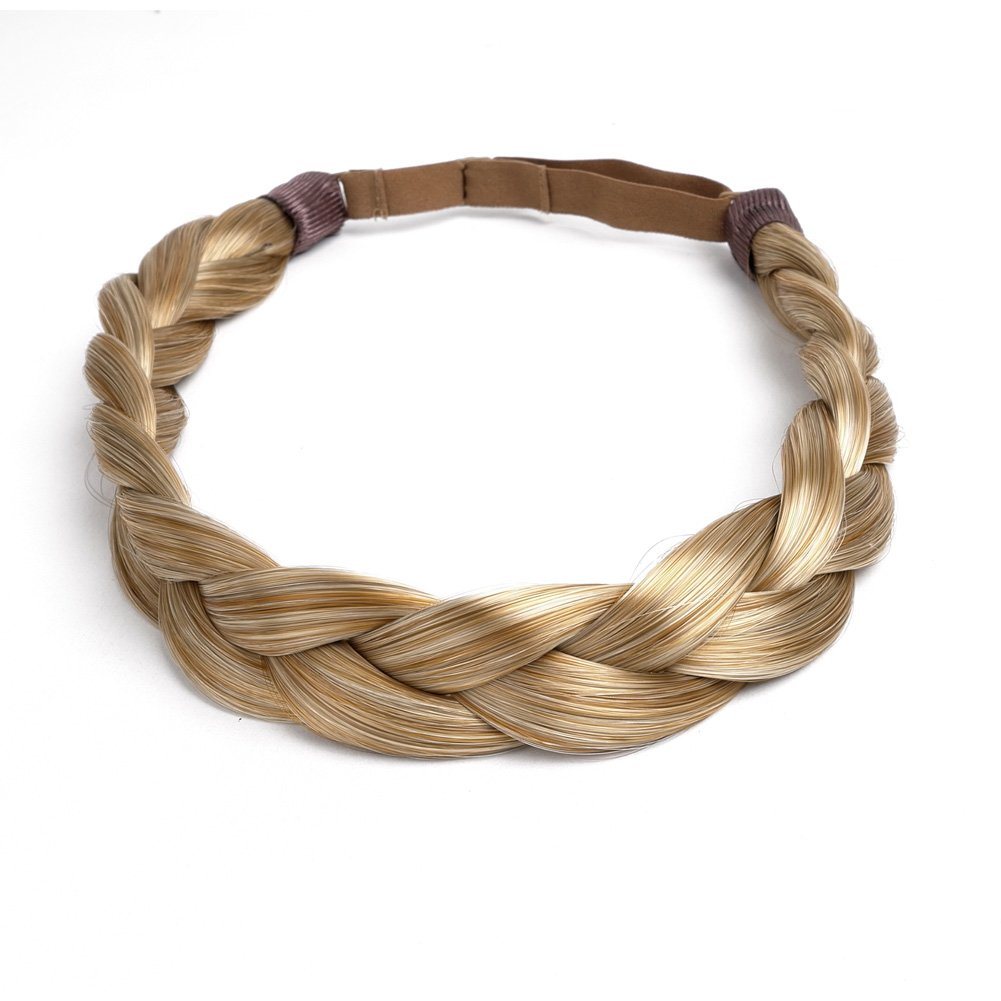 Ty.Hermenlisa Chunky Synthetic Hair Braided Headband Classic Wide Braids Elastic Stretch Hairpiece Women Beauty accessory, 55g, Honey Blonde