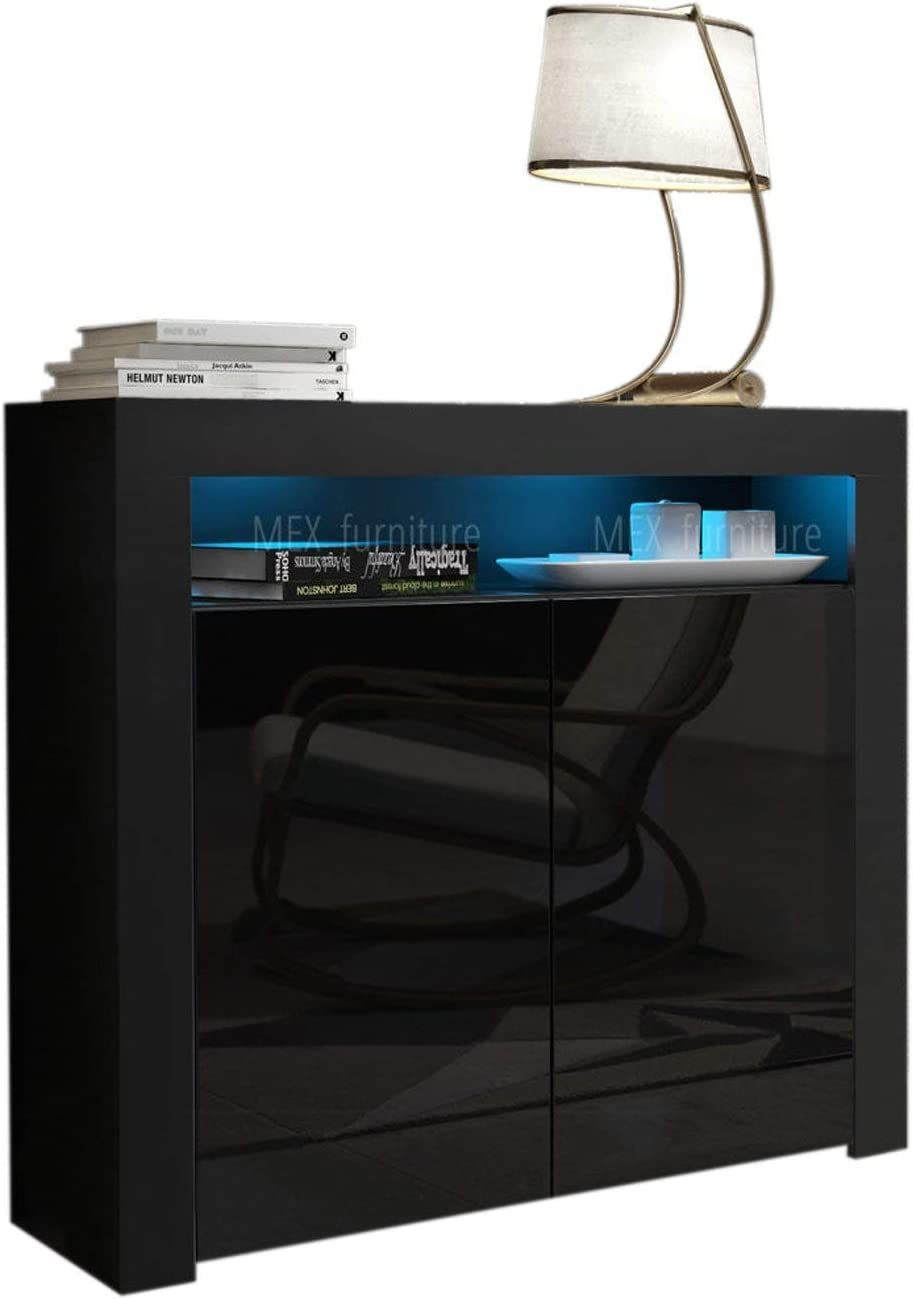 Domadeco Milano 2 Sideboard Furniture Unique Style Sideboard Cabinet and Buffet/Modern sideboards Color Black and Black