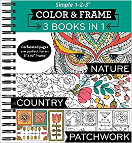 Amazoncom Color Frame Coloring Book 3 In 1 Nature Country