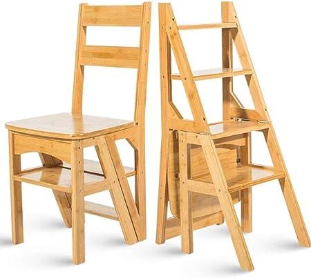 YZjk Escalera Multifuncional para el hogar Taburete Silla Plegable para niños de Madera Maciza Escalera de Cuatro Patas Escalera Ascendente, 38 & Times; 39 & Times; 60cm (Color: Wood Color): Amazon.es: Hogar