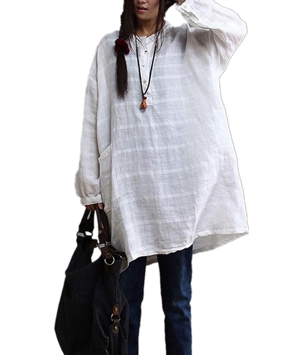 fdaa57f9ab5 YESNO AB0 Women Casual White Tops Blouse 100% Linen Loose Fit Button-Up  Stand Collar Roll-up Long Sleeve Big Front Pockets