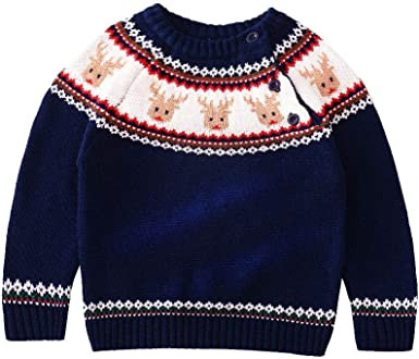 JGJSTAR Baby Boys Girls Knit Sweater Toddler Christmas Sweatershirt Cotton Pullover Reindeer Sweater Shirt Winter Clothes