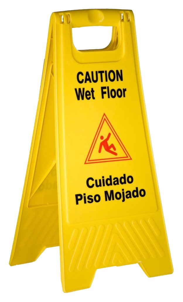 TigerChef PLWFC024@8PK Tiger Chef Wet Floor Caution Sign, Yellow, Plastic (Pack of 8) by Tiger Chef