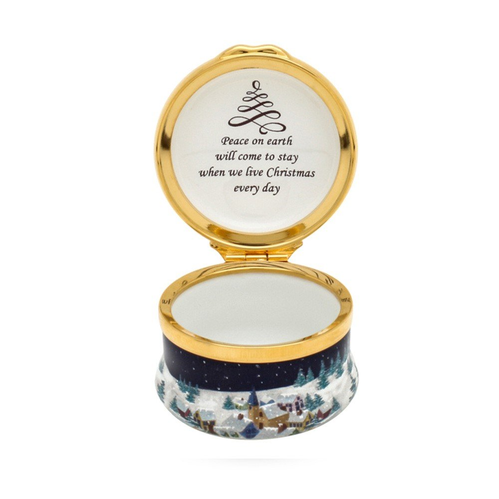 Halcyon Days, Christmas 2017 Dove of Peace Enamel Box w/Inside Inscription, 24K Gold Fittings, Gift Box by Halcyon Days (Image #3)