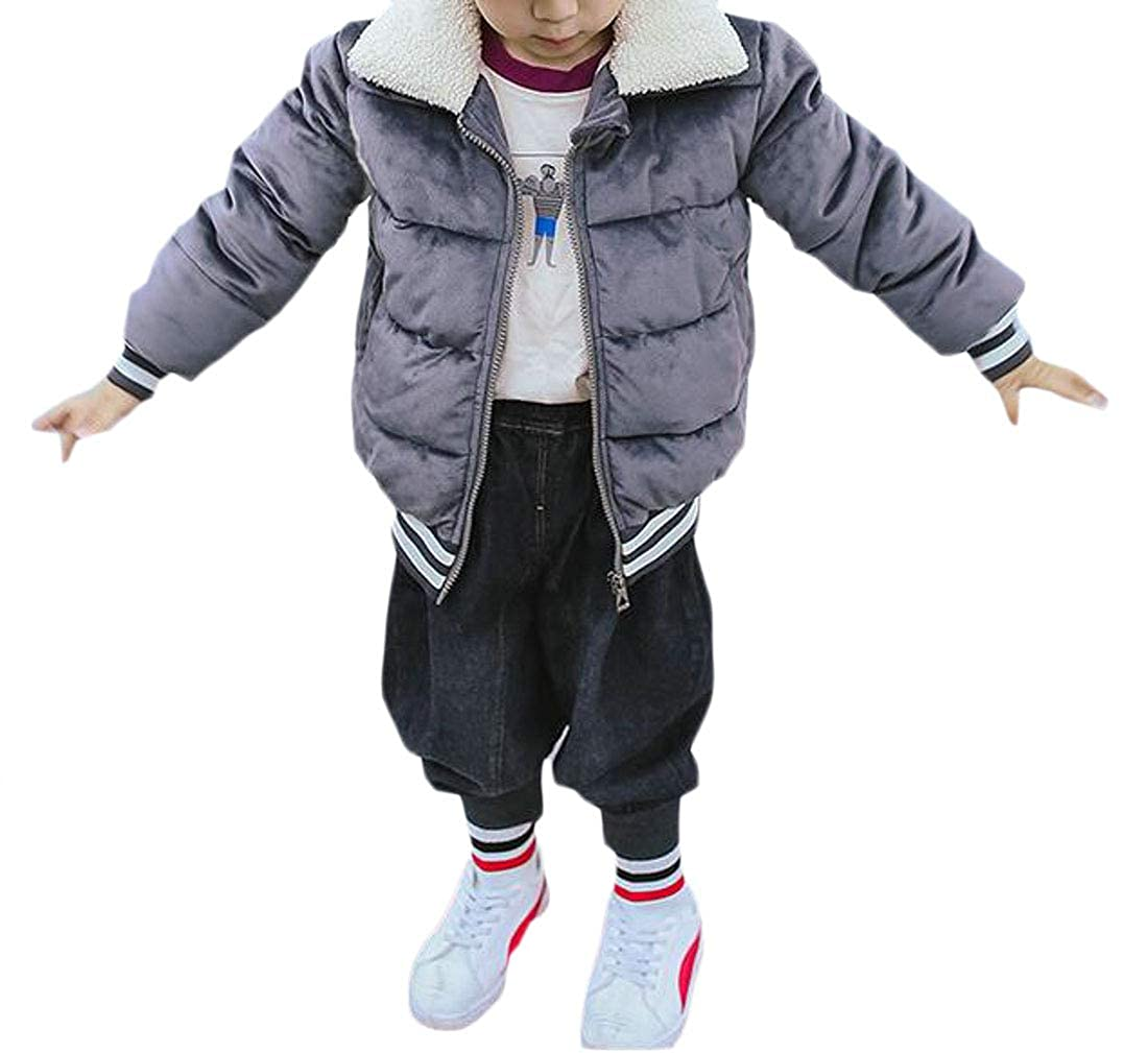Wofupowga Boys Girls Thick Warm Fleece Overcoat Cute Parkas Coats